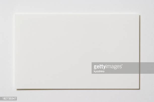 Isolated shot of blank business card on white background