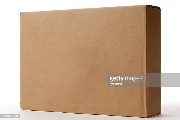 Isolated shot of blank cardboard box on white background