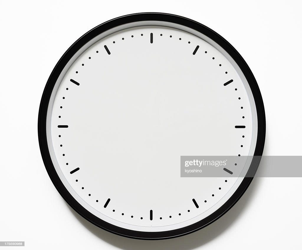 Isolated Shot Of Blank Clock Face On White Background Stock