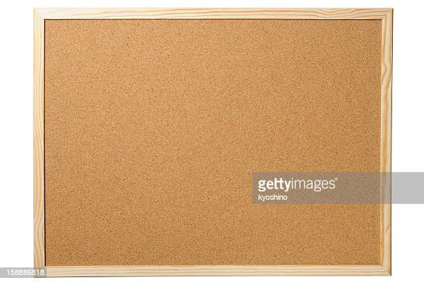 isolated shot of blank cork board on white background - bulletin board stock pictures, royalty-free photos & images