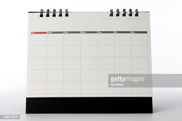 Isolated shot of blank desktop calendar on white background