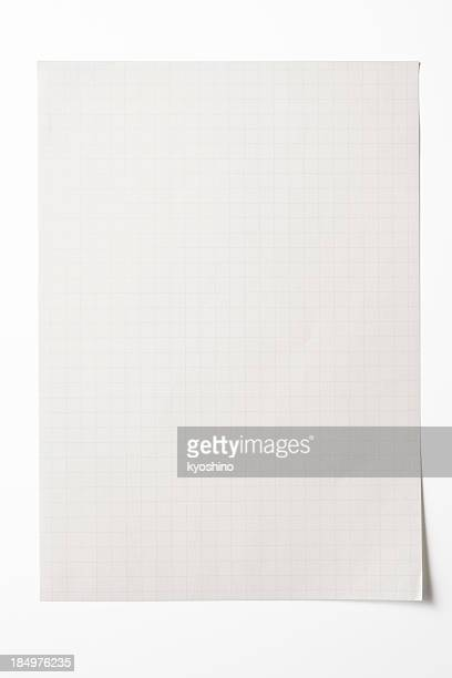 Isolated shot of blank graph paper on white background