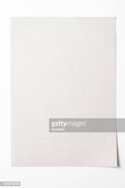 Aislado fotografía de gráfico de hoja de papel en blanco sobre fondo blanco