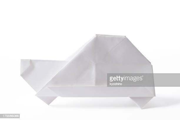 Isolierte Schuss von blank Origami Öko-Auto auf weißem Hintergrund