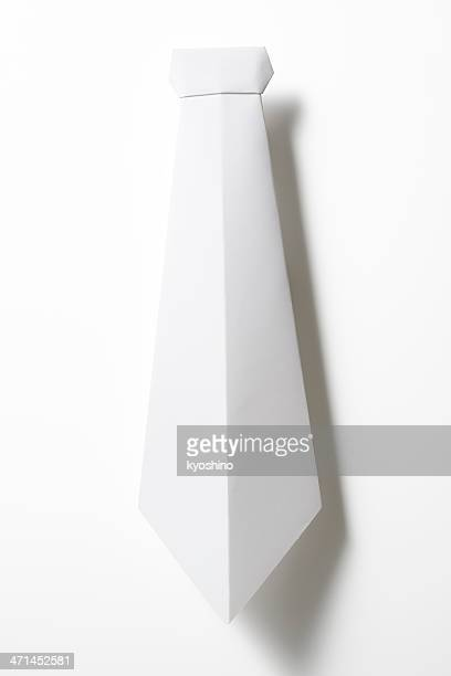 Isolated shot of blank origami necktie on white background