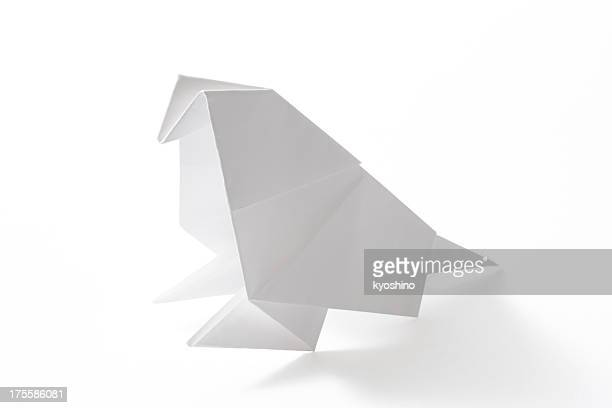 Isolated shot of blank origami parakeet on white background