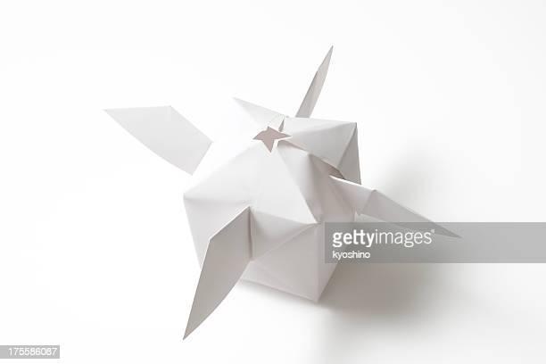 Isolated shot of blank origami satellite on white background