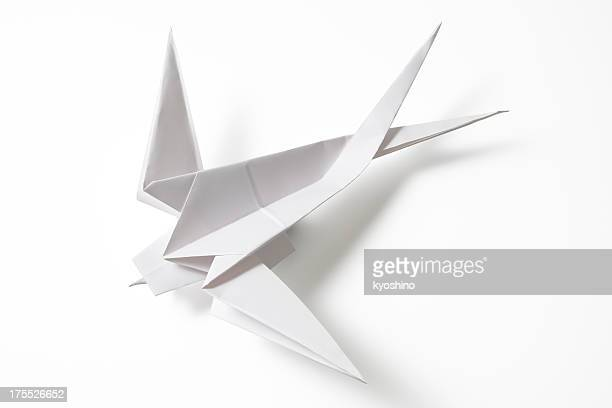 Isolated shot of blank Origami Swallow on white background