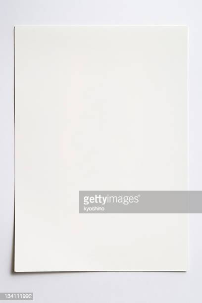 Isolated shot of blank paper on white background with shadow