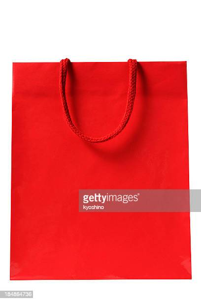 isolated shot of blank red shopping bag on white background - shopping bag stock pictures, royalty-free photos & images