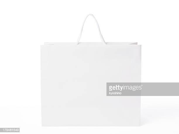 isolated shot of blank shopping bag on white background - shopping bag stock pictures, royalty-free photos & images