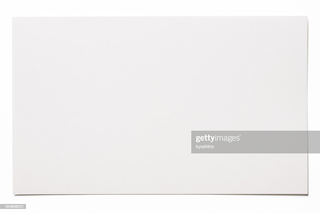 Isolated shot of blank white card on white background : Stock Photo