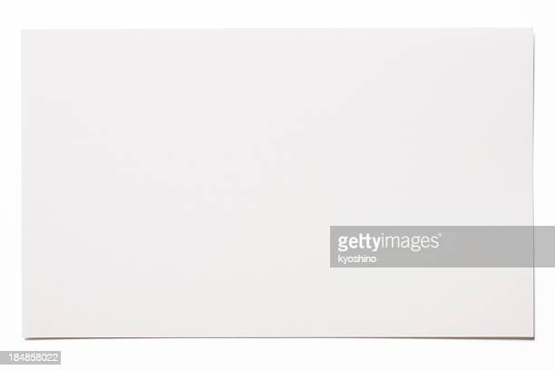 isolated shot of blank white card on white background - bericht stockfoto's en -beelden