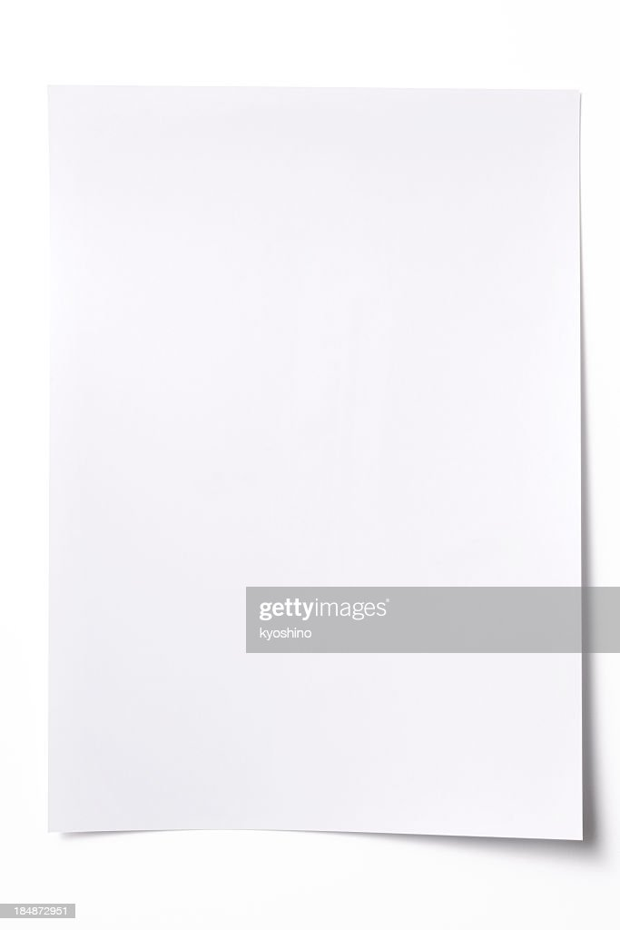Isolated Shot Of Blank White Paper Sheet On White Background Stock ...