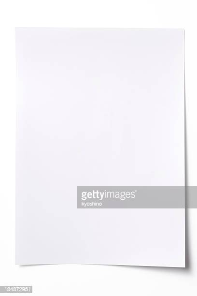 isolated shot of blank white paper sheet on white background - bericht stockfoto's en -beelden