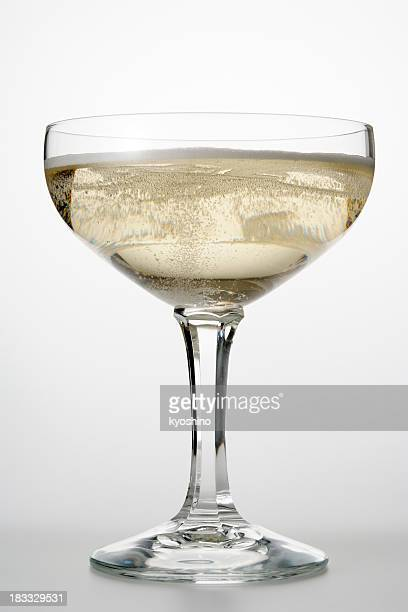 Isolated shot of Champagne glass on white background