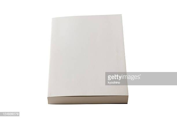 Isolated shot of closed blank book on white background