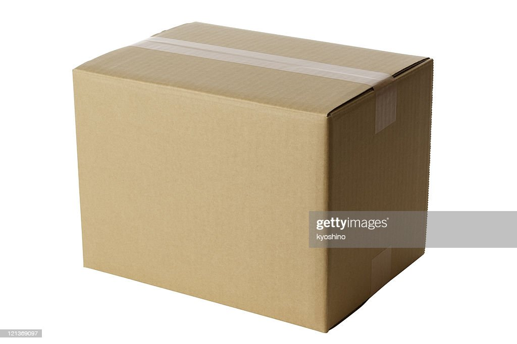 Isolated shot of closed blank cardboard box on white background : Stock Photo