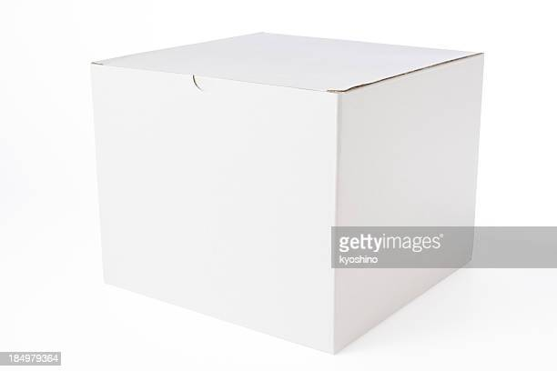 Isolated shot of closed blank cube box on white background