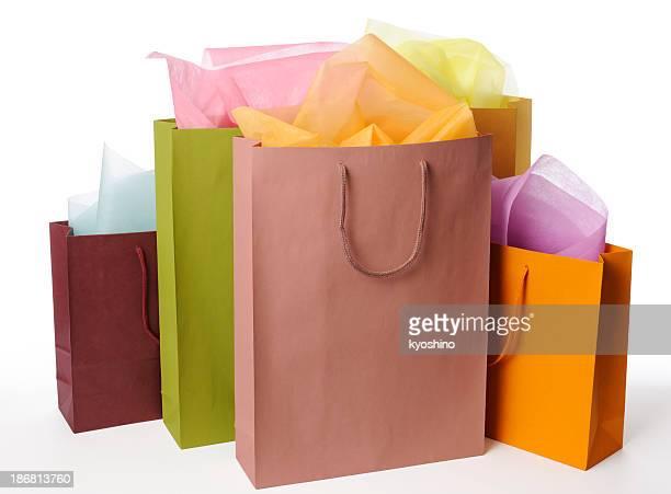 Isolé vue de shopping sacs colorés sur fond blanc