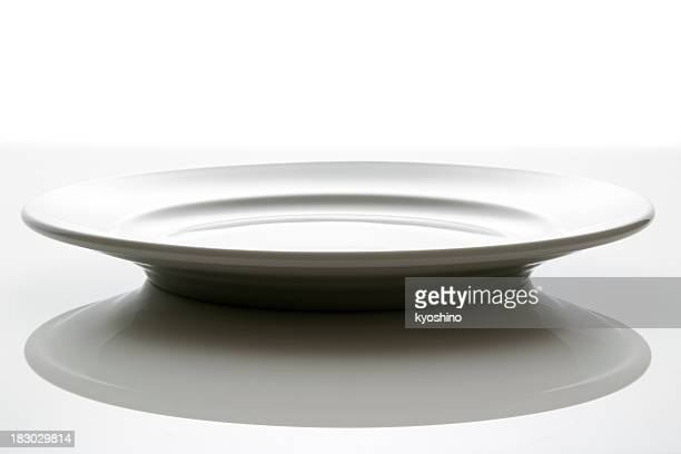 Isolated shot of empty white plate on white background