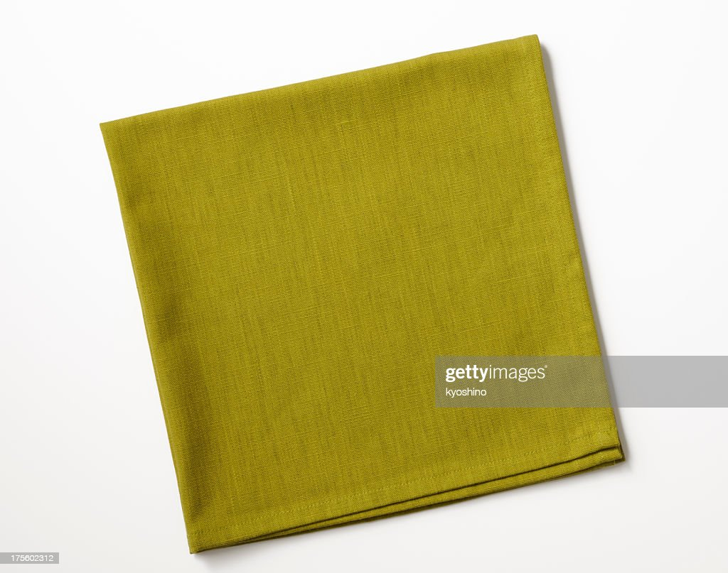 Aislado fotografía de doblado de servilleta Verde sobre fondo blanco : Foto de stock
