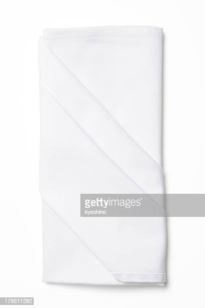 Isolated shot of folded white napkin on white background
