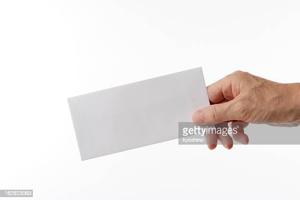 Isolated shot of holding a blank envelope against white background
