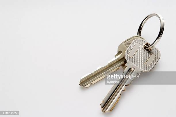 isolated shot of keys on white background with copy space - house key stock photos and pictures