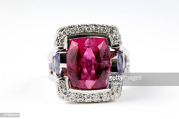 Isolated shot of luxury ruby diamond ring on white background