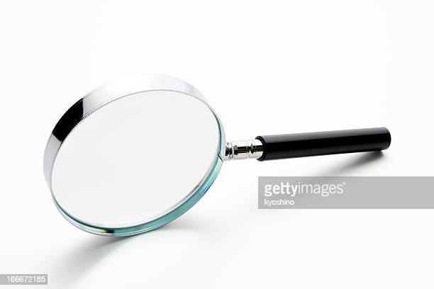 Isolated shot of magnifying glass on white background