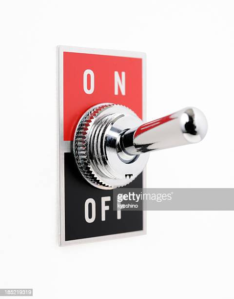 Aislado fotografía de interruptor de encendido y apagado sobre fondo blanco