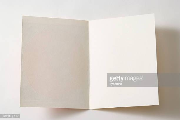 isolated shot of opened antique blank paper on white background - greeting card bildbanksfoton och bilder