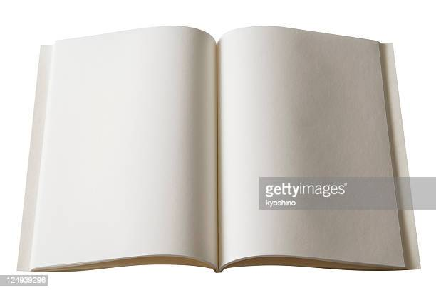 Isolated shot of opened blank book on white background