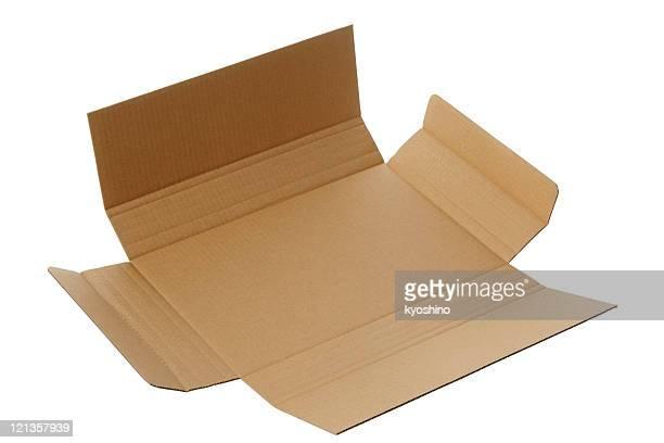 Isolé photo de ouvert vide Boîte en carton sur fond blanc