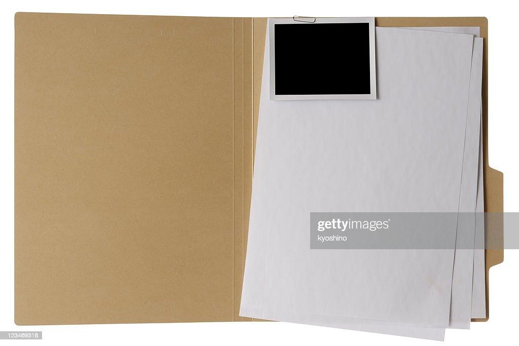 Isolated shot of opened file folder on white background : Stock Photo