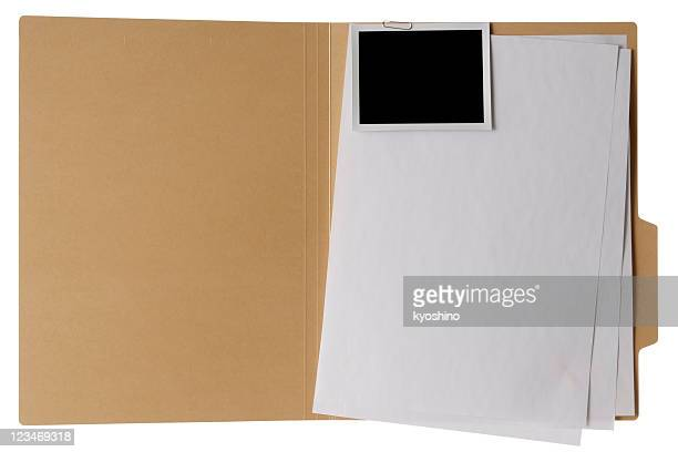Isolated shot of opened file folder on white background