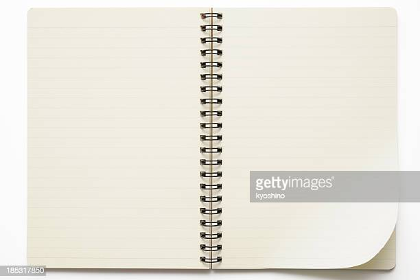 isolated shot of opened spiral notebook on white background - lined paper stock pictures, royalty-free photos & images