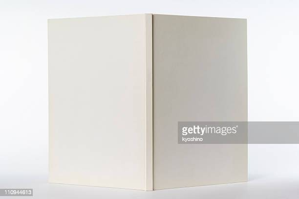 Isolated shot of opened white blank book on white background