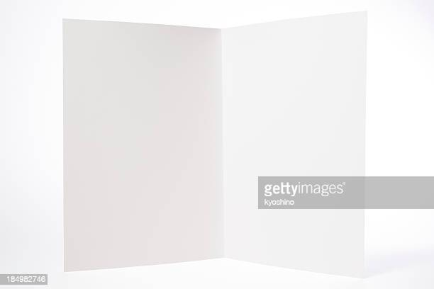 Isolated shot of opened white blank brochure on white background