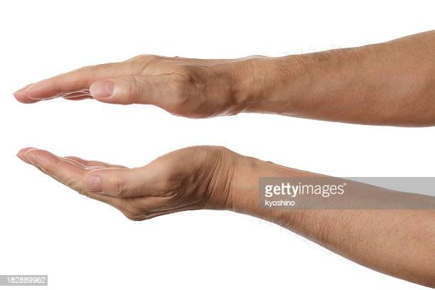 Isolated shot of palms hands sign against white background