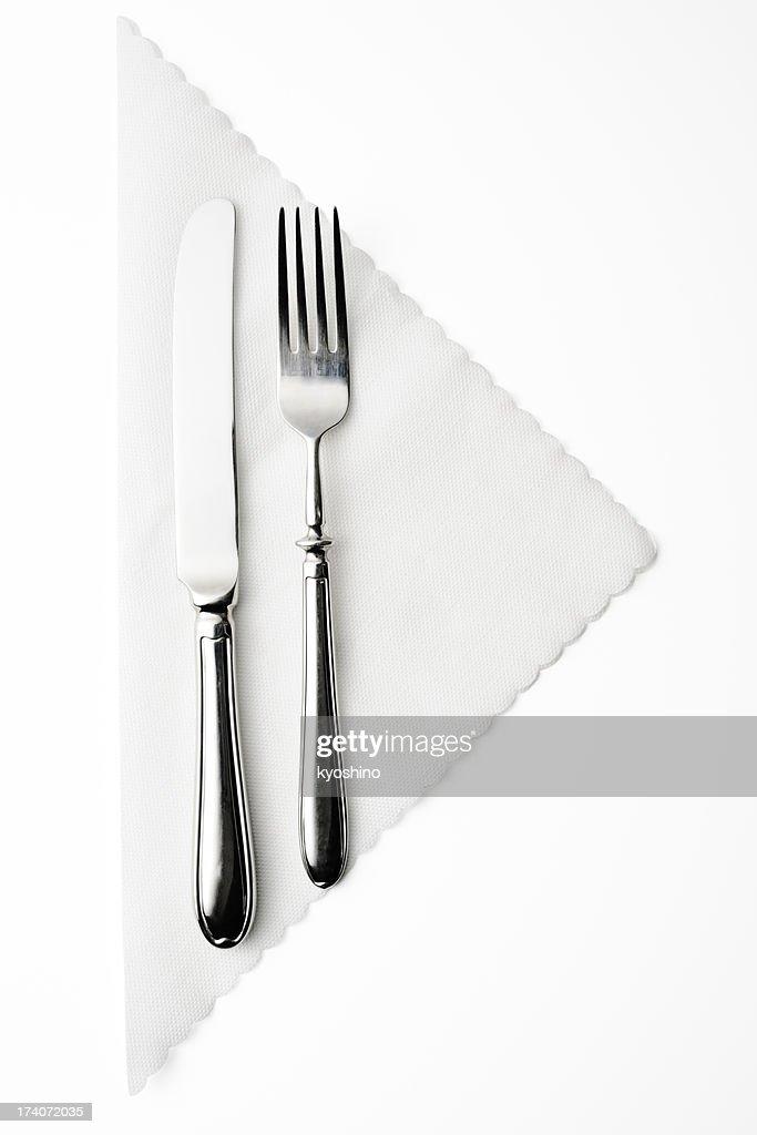 Isolated shot of place setting on white background : Stockfoto