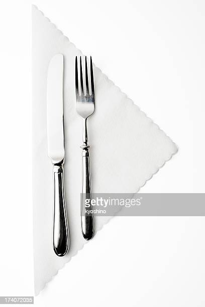 isolated shot of place setting on white background - silverware stock pictures, royalty-free photos & images
