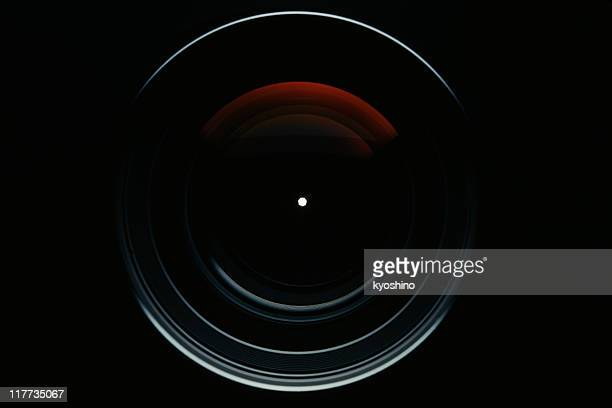 isolated shot of professional camera lens against black background - aiming stock pictures, royalty-free photos & images