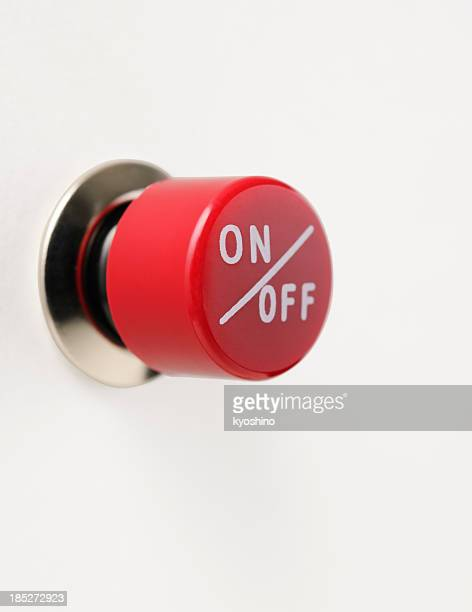 Isolated shot of red circle switch on white background