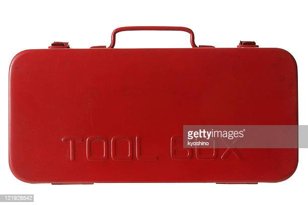 isolated shot of red toolbox on white background - toolbox stock photos and pictures