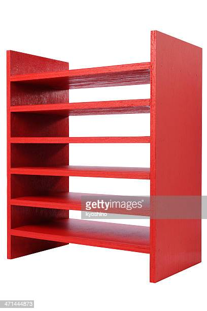 Isolated shot of red wooden shelf on white background