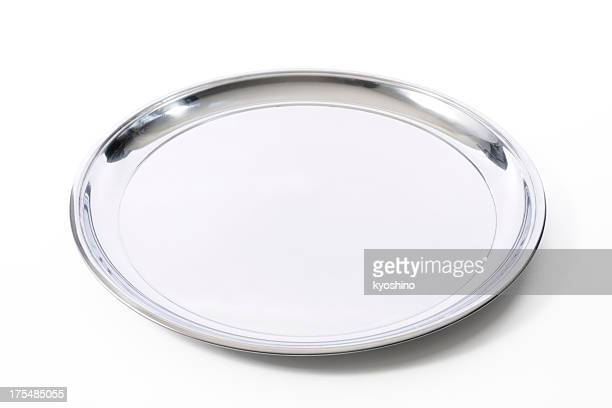 isolated shot of silver tray on white background - tray stock pictures, royalty-free photos & images