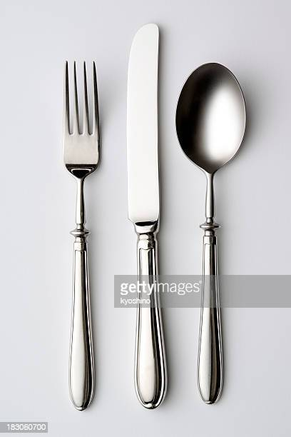 isolated shot of silverware on white background - silverware stock pictures, royalty-free photos & images
