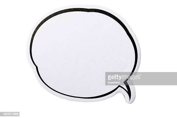 Isolated shot of speech bubble adhesive note on white background